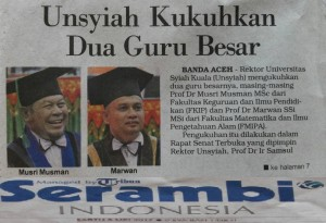 Berita Pengukuhan Dua Guru Besar Unsyiah di Halaman Depan Harian Serambi Indonesia